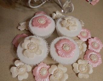 "16 White & Pink  2"" Gumpaste Blossoms for Wedding Cake,Cupcakes,Cakepops"