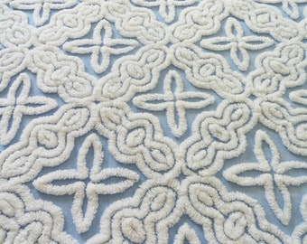 Blue Hofmann Stars and Scrolls Vintage Chenille Bedspread Fabric Piece...18 x 24""