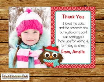 Owl Thank You Card with Photo | Christmas Owl Thank You Card | First Birthday | Winter Thank You Card | Winter Owl for Girls Thank You Card