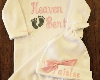 Newborn Girl Take Home Outfit- Baby Girls gown- monogrammed hat baby pink Heaven Sent- So sweet.