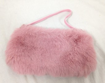 pink fuzzy furry mini purse