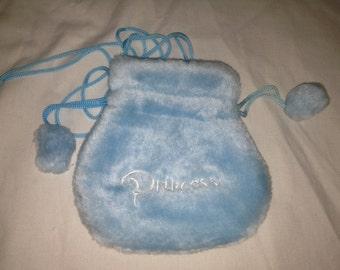 baby blue fuzzy furry princess pouch