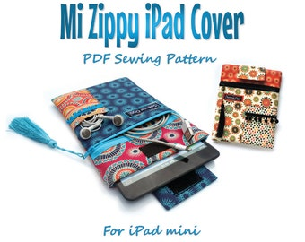 Sewing pattern for iPad Mini cover. Mi Zippy iPad cover. PDF download For iPad mini case. Tablet case sewing pattern and tutorial