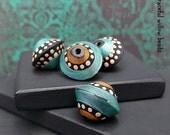 Matte Finish Ebony Turquoise Pearl Polymer Bicone Bead Set - Moroccan Style Boho Gypsy Bead Set - 13mm - Pkg. 4