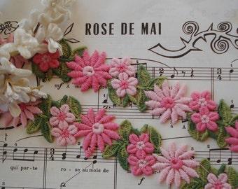 1/2y Vintage Pink White Daisy Flower Schiffli Venise Cotton Applique Lace Trim Ribbon French Doll Dress Bonnet Hat Crazy Quilt