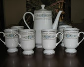 Lovely Vintage Porcelain Coffee Set by Wade, Pot & 6 Footed Mugs, Excellent Condition