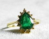 Emerald Ring 14K Ring Colombian Emerald 14k Ring Diamond Halo Emerald Engagement Ring Emerald Art Deco Diamond Halo Ring May Birthstone