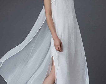Layered White Dress - Floaty Elegant Long Sleeveless Loose-Fitting Summer Dress in Linen & Chiffon C852