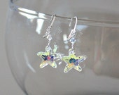 Mothers Day Gift,Swarovski Crystal Starfish Earrings,Starfish Wedding,Mothers Day,From Son,April Birthday Gift,For Her,Beach Wedding,Unique