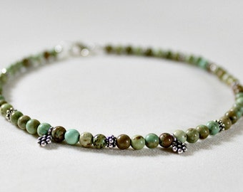 Green Turquoise Bali Silver Anklet,Boho,Beach Ankle Bracelet,Graduation Gift for Girls,Green Turquoise Anklet,40th Birthday Gift for Women
