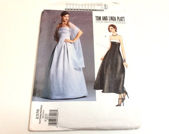 Strapless Evening or Prom Dress Pattern, Tom and Linda Platt Pattern, Vogue 2376, Strapless Evening Gown, Uncut, Size 8 10 12