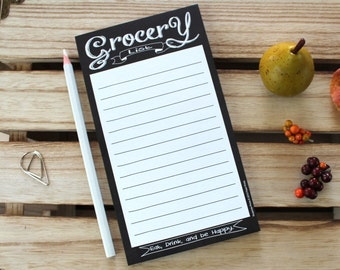 Chalkboard Magnetic Grocery List - Country Rustic Vintage Chic Decor Style Shopping Notepad Memo Pad Stocking Stuffer Gift Ideas for Him Her