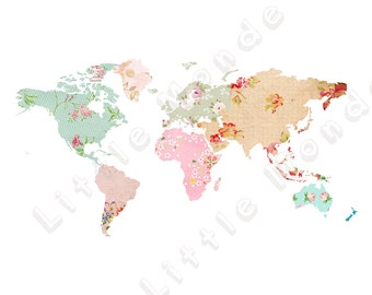 Baby Girl Nursery Prints, World Map Poster, Patchwork Map, Pink Blue Aqua, Pastel Nursery, Travel, Baby Girl Wall Art, Shabby Chic, Vintage
