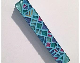 Mezuzah Case - Blue Green Mosaic Mezuzah - Gift for Jewish Holidays - Jewish Hostess Gift - Jewish Housewarming Gift - Passover Gift Judaica