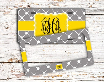 Preppy monogram gifts For Her, Personalized license plate or frame, Yellow and gray (1024)