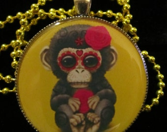 Sugar Skull Chimp Necklace-Day of the Dead Chimpanzee-Monkey Skull Jewelry-Handmade Resin Pendant Jewelry