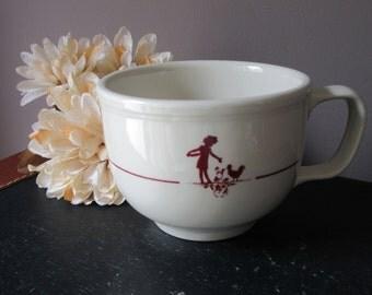 Vintage Homer Laughlin Large Mug Coffee Cup Soup Mug USA  Large 2 Cup Capacity  Girl Feeding Chickens Retro Country Charm