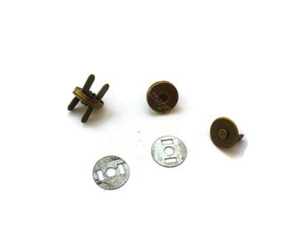 10 sets Mini Magnetic Snaps Per Bag , Magnetic Fastener antique brass 10mm - MS05