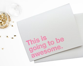 This is going to be awesome letterpress card set , adventure cards , wedding letterpress , invitations , neon pink, orange , blue , set of 6