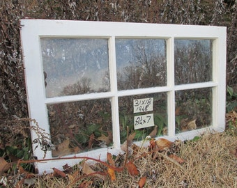 31 x 19 Vintage Antique Window sash old 6 pane from 1948 Arts& Crafts