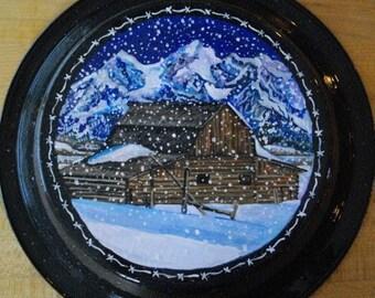 Original Painting on Repurposed Enamelware Pie Pan