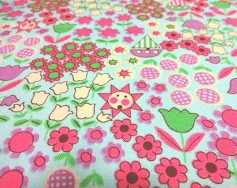 Japanese Fabric QUILT GATE Flower world Mint  Fat Quarter