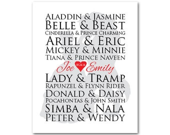 Customizable famous couples print - wall art - wedding memento - Wedding, Engagement, Anniversary gift  - anniversary gift for women