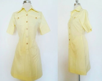 1960s Vintage Women's Lemon Yellow Western Dress Size Small
