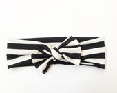 Black and White Striped Jersey Tie On Headband