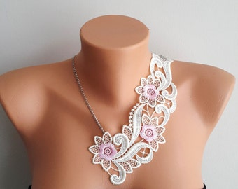 Ivory pink  Necklace/ Lace Necklace/ Silver/ Gold Necklace/ Arc Necklace/ AFlower Necklace/ Wedding Necklace/ Gift For Her
