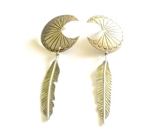 Vintage Navajo Large Sterling Silver Half Moon Concho & Feather Dangle Earrings