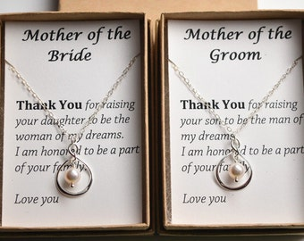 Mother Of The Bride/Groom Gift Necklace - Wedding Gift Jewelry for Mother-Thank You Gift-Sterling silver infinity pearl necklace