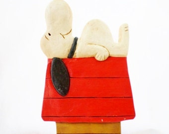 ON SALE Vintage, Snoopy, On his Doghouse, Peanuts Character, Chalkware or Plaster, Wall Hanging