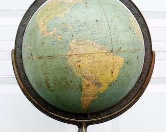 ON SALE 1946 A.J. Nystrom 12-Inch Suspension Terrestrial Globe W. & A.K. Johnston, Ltd., Edinburgh Scotland