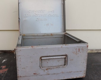 Vintage Industrial, Storage Box, Instrument Box, Steel, Grey, Q.M. Model 1-42 Tester Low Voltage Circuit Box Only