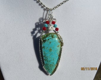 Turquoise Designer Cabochon Wire Wrapped Pendant