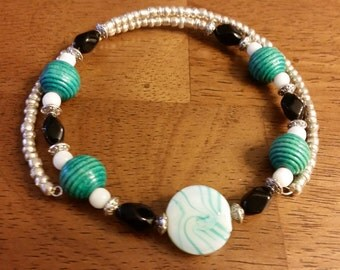Orbit Necklace - Memory Wire Beaded Necklace in Silver, White, Teal, and Black