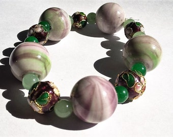 Purple, Green, & White Ceramic, Purple Cloisonne, and Dyed Green Quartz Beaded Stretchy Bracelet