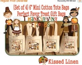 """SALE Thanksgiving Friends Pilgrims Indians Turkey Treat Favor Bags 6""""x6"""" Natural Cotton Mini Totes Children Kids Guests Favor Treat Gift Bag"""