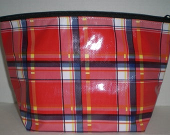 Red plaid large monogrammed oilcloth cosmetic bag
