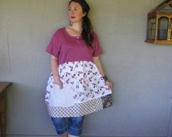 upcycled Bohemian tunic dress Romantic clothing X L 1 X patchwork Mori girl Prairie dress Artsy eco Raw Tattered shirt by LillieNoraDryGoods