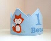 Fox Crown, Wool Felt Crown, Woodland Themed Crown, Boy, Personalized, Birthday Crown