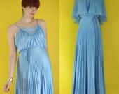 Vintage 70s Cornflower Blue Bridesmaid Dress with Cape - Pleated Dress - Maxi Dress - Long Formal Dress - Boho Strappy Dress - Size XS