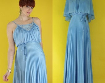 SALE: Vintage 70s Cornflower Blue Bridesmaid Dress with Cape - Pleated Dress - Maxi Dress - Long Formal Dress - Boho Strappy Dress - Size XS