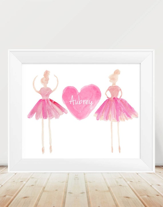 Personalized Ballerina Print for Girls, 11x14