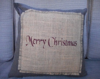 Christmas Pillow, Country Christmas Pillow, Burlap Pillow, Throw Pillow, Rustic Pillow, Gingham check Pillow, Country Pillow, Ready to ship