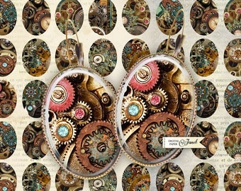 Steampunk - oval image - 18 x 25 mm - digital collage sheet  - Printable Download