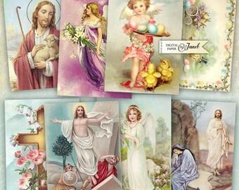 Pasqua - Easter - Resurrection - digital collage sheet - set of 8 - Printable Download