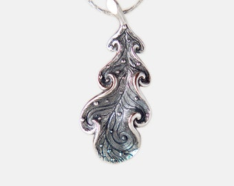 Sterling Silver Oak Leaf Pendant, Nature Inspired Jewelry, Handmade
