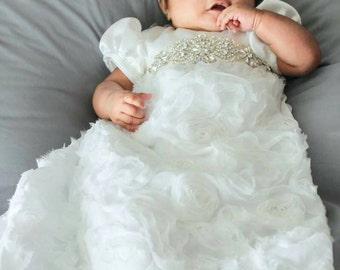 Rhinestone christening dress with matching headband